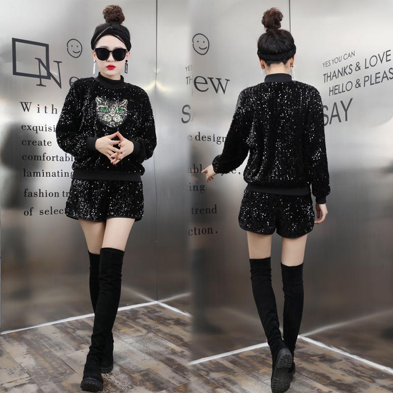 秋冬季女装韩版新款亮片长袖潮卫衣