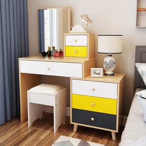 北欧梳妆台卧室现代简约小户型网红ins风多功能实木化妆台桌带凳