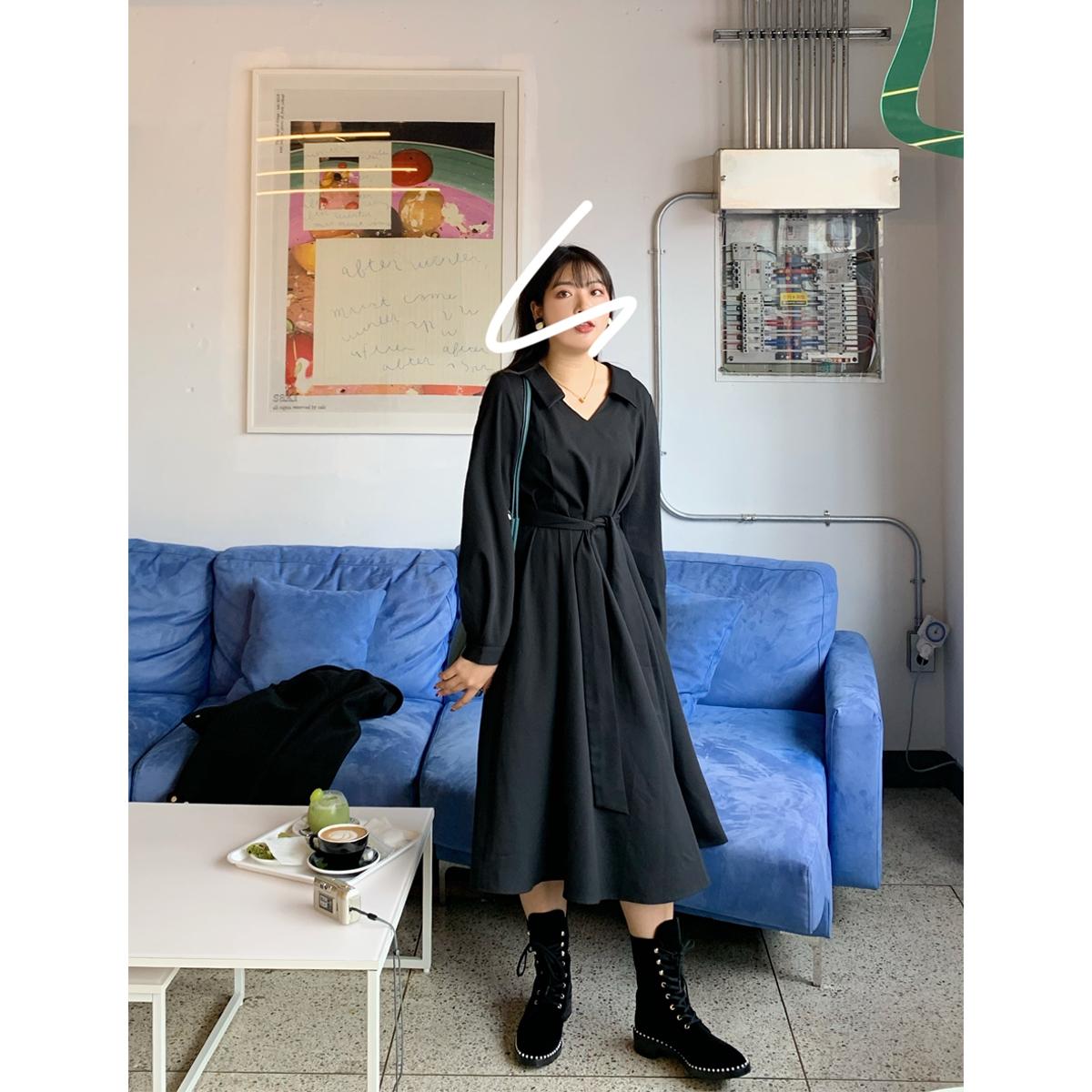 大面菁胖mm秋冬装收腰显瘦气质中长款法式复古风黑色大码连衣裙女