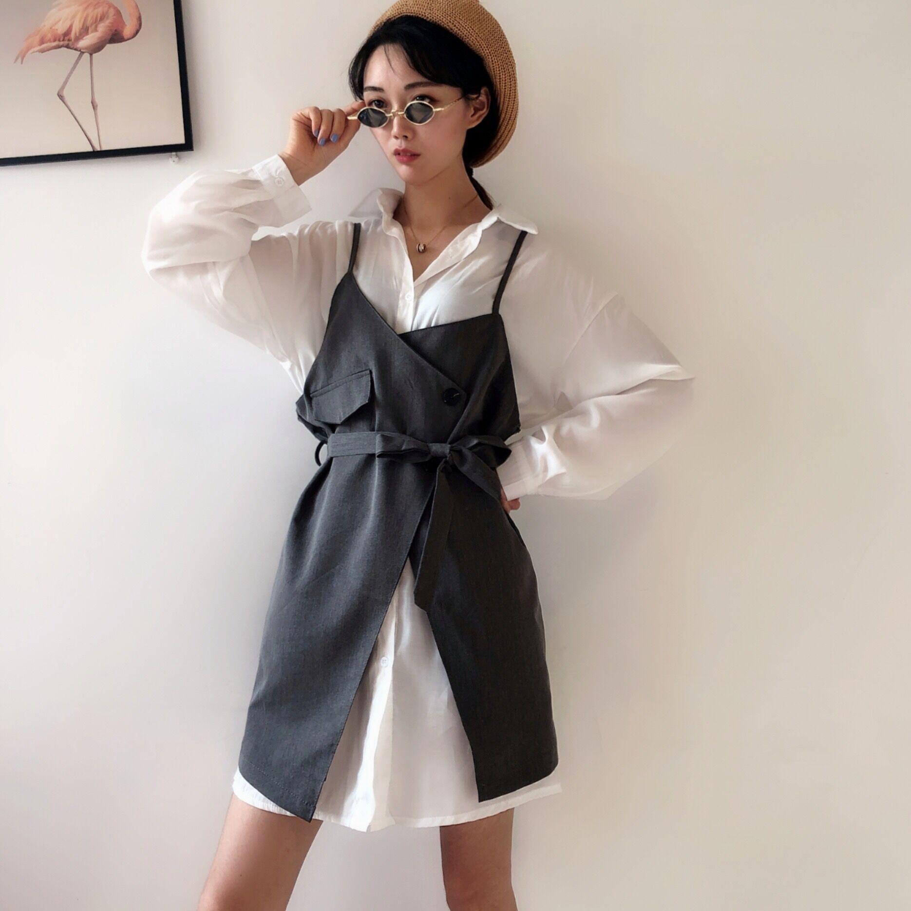 热销31件五折促销秋季韩版boom新款不规则+吊带裙