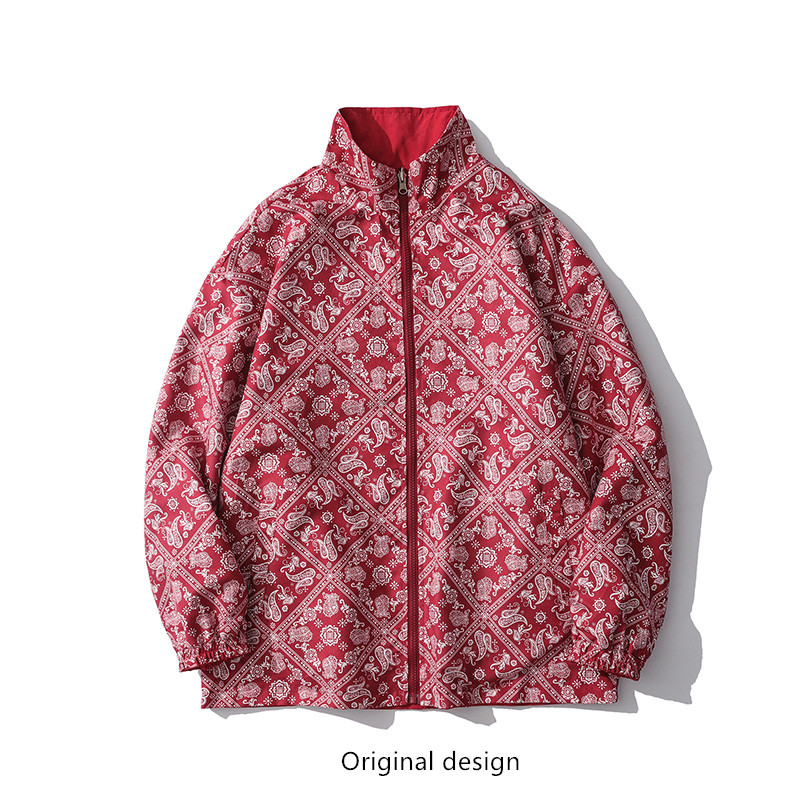 Spring and autumn cashew flower double-sided wear jacket male couple tide ins retro Japanese loose men and women hip-hop jacket jacket