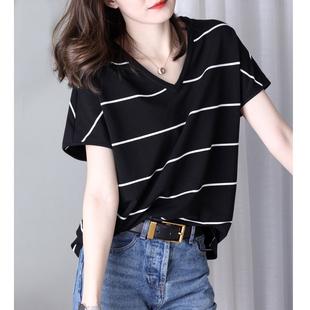 新款 v领黑白条纹短袖 t恤女韩版 ins潮 宽松百搭冰丝针织衫 2020夏季