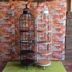 铁艺置物架复古创意实木层架三四层搁板架落地书架多层鸟笼展示架