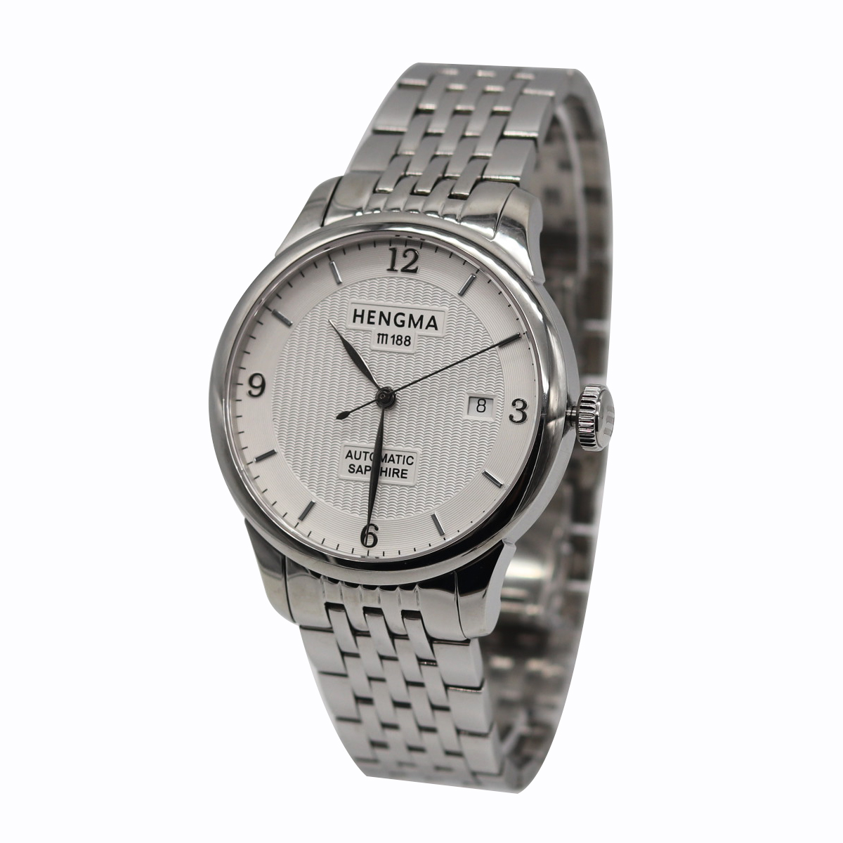 Hengma automatic mechanical watch mens white plate stainless steel watch with perspective bottom