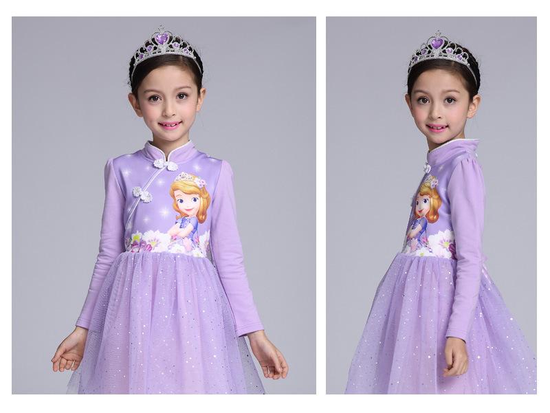 女童秋装新款旗袍公主裙5小女孩6索菲亚艾莎7冰雪奇缘八岁连衣裙