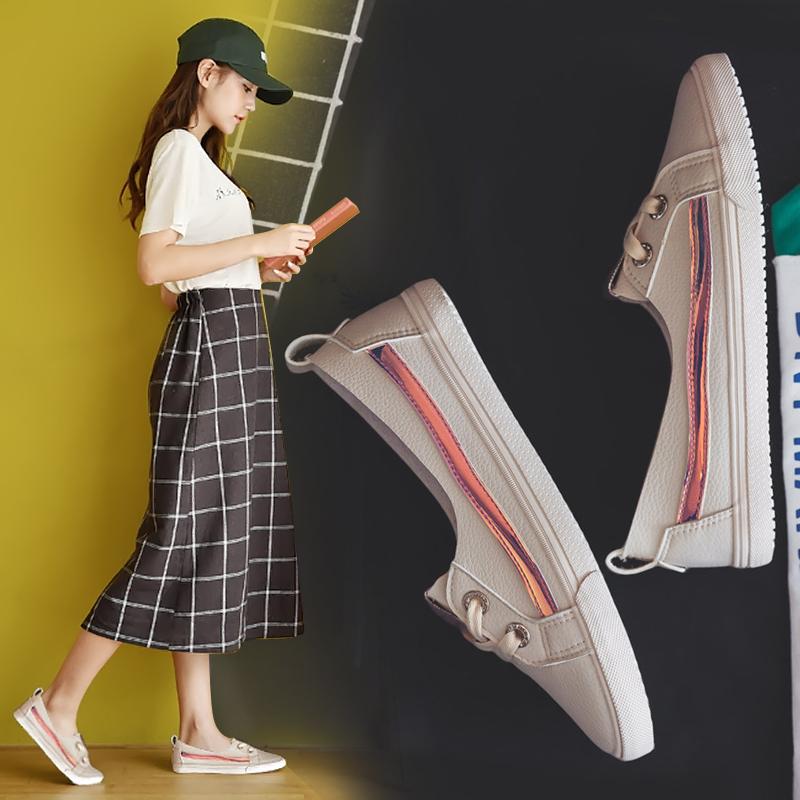 李圣经同款2018新款小白鞋女夏季透气百搭韩版浅口帆布鞋女板鞋女