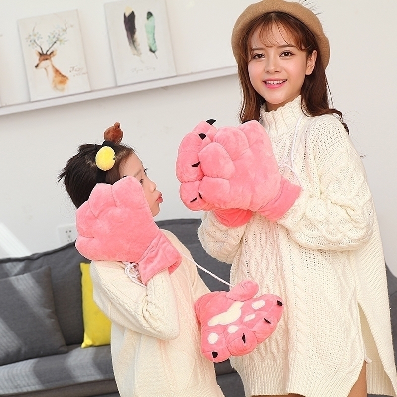 Cartoon parent child claw gloves female winter lovely Korean students paw gloves thickened Plush warm gift