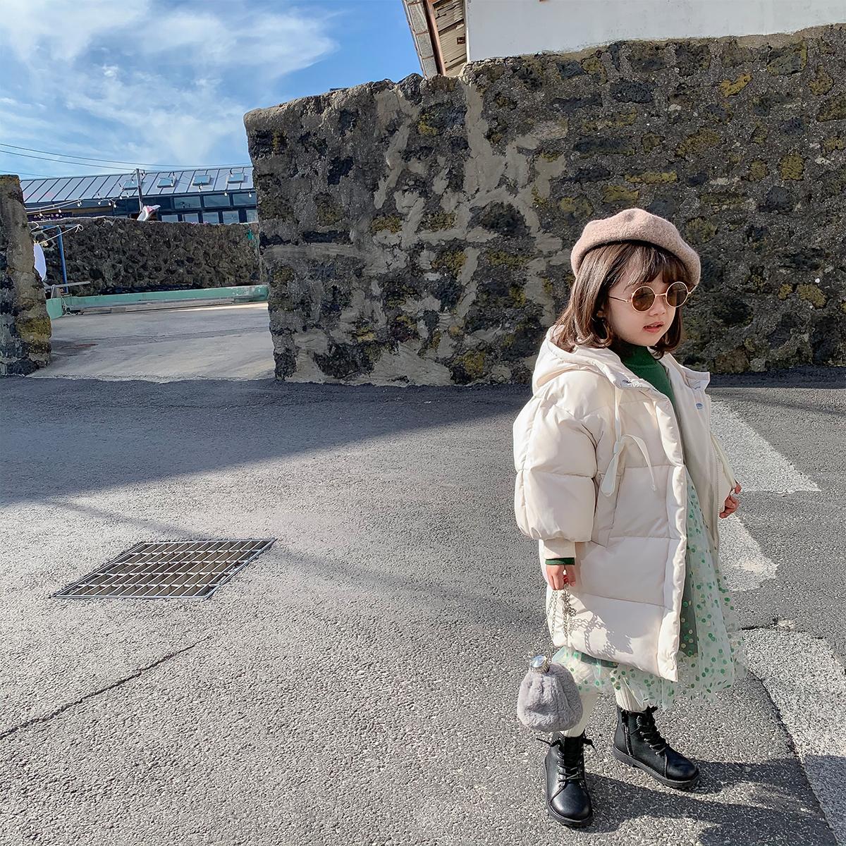 蓝小爸冬季新款女童加厚棉服韩版女宝宝连帽中长款保暖外套潮图片