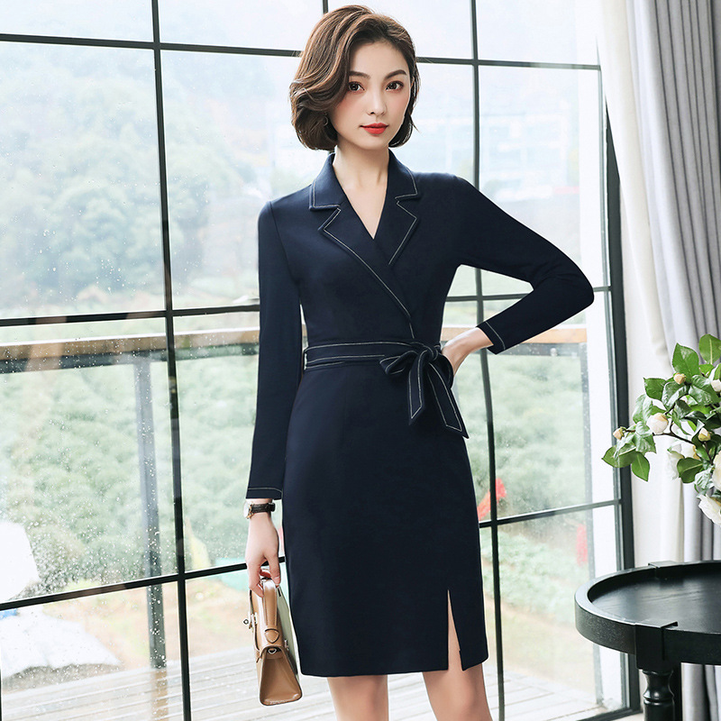 Suit collar, professional dress, spring and autumn work clothes, one-piece skirt, white collar business dress, womens short sleeve, Navy