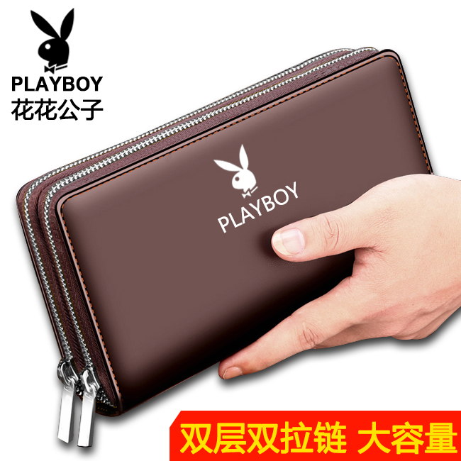 Playboy wallet mens fashion Korean New Leather Wallet cowhide business mens Long Wallet ticket clip leather fashion