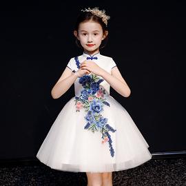 儿童礼服女蓬蓬公主裙青花瓷主持人洋气中国风古筝演出服花童六一
