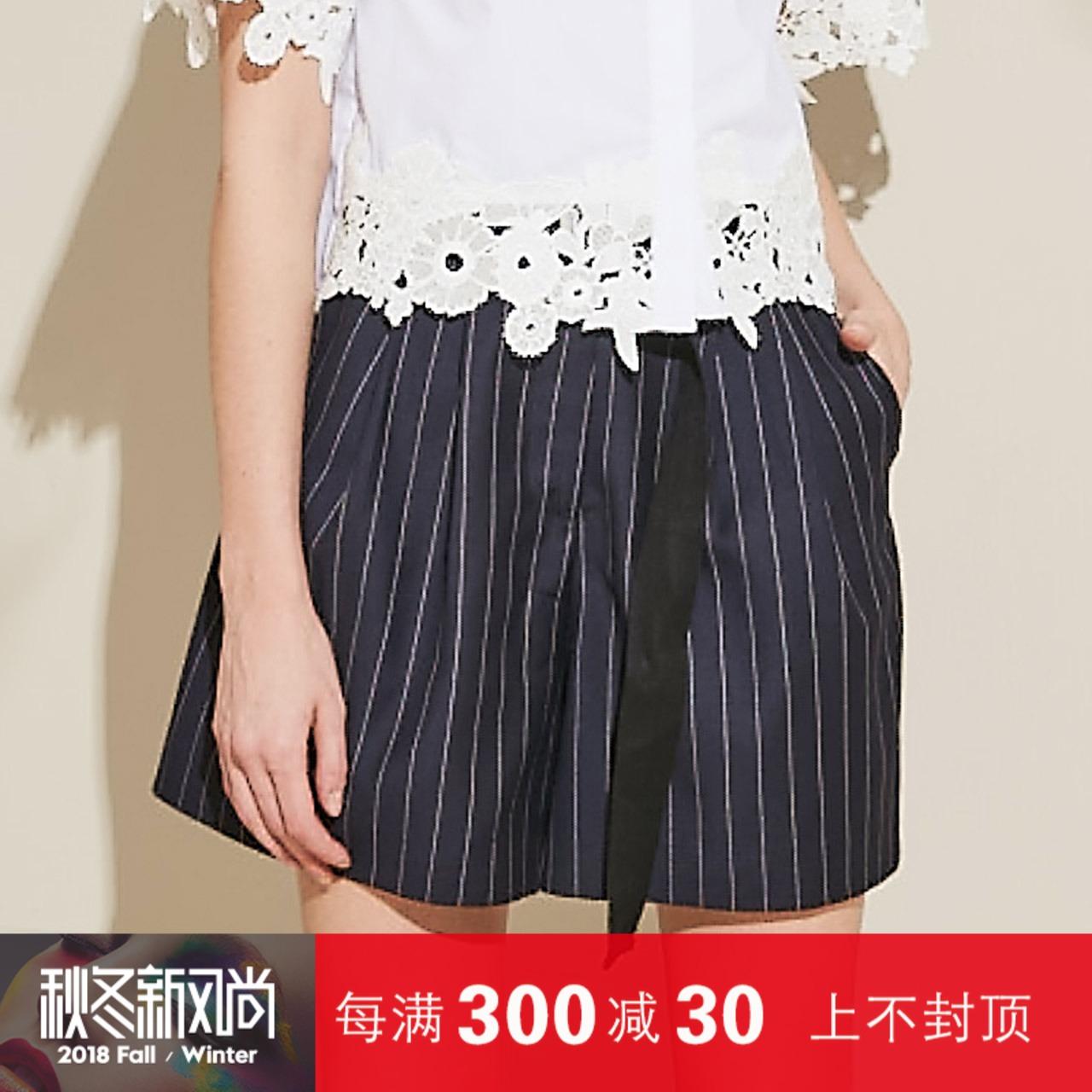 z11女装夏季薄款休闲宽松条纹系带高腰A字阔腿短裤Z17BK431