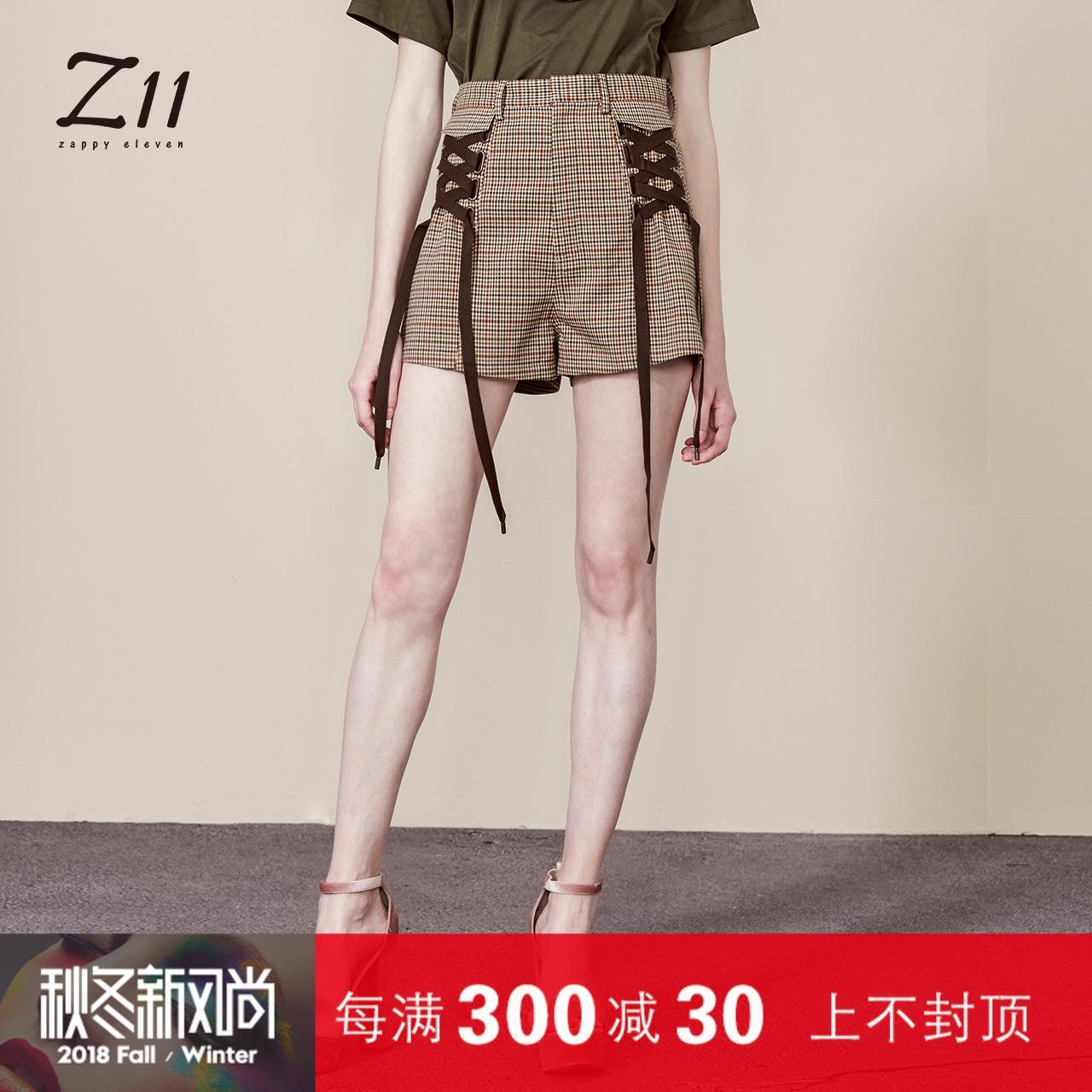 z11女装专柜正品2018夏新款英伦风高腰格纹绑带短裤Z18BK125