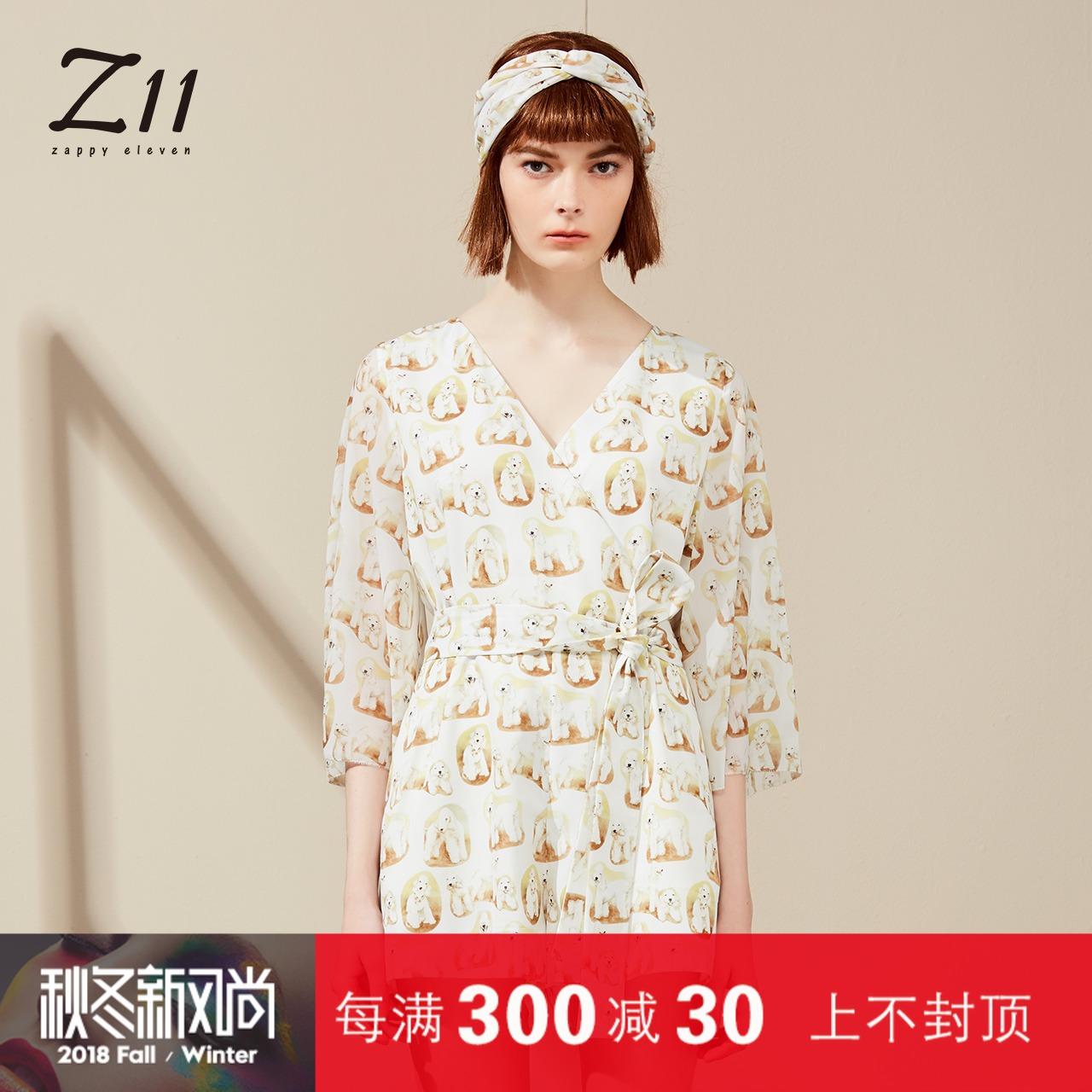 Z11女装专柜正品2018夏新款时尚V领长袖狗狗印花连体裤Z18BY541