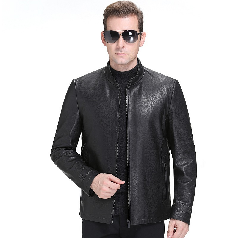 Winter mens middle-aged fashion casual deerskin real leather coat Plush jacket coat