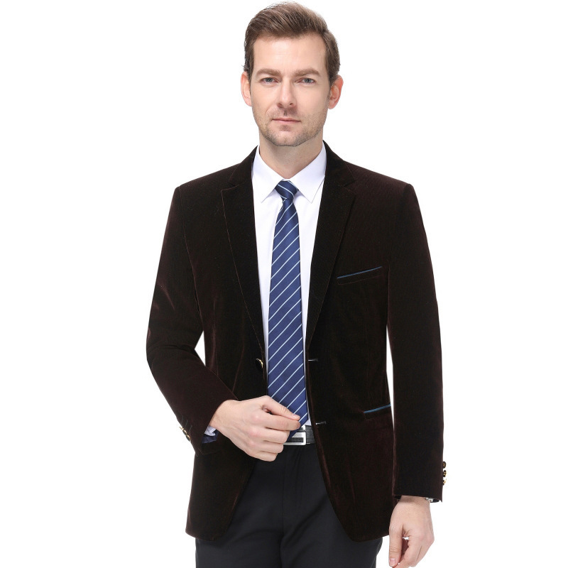 Autumn and winter 2020 new mens suit fashion leisure middle aged wool single suit trendy mens striped coat