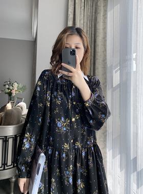 轩轩自制    2021春秋新款高级感雪纺碎花连衣裙宽松垂感中长裙子