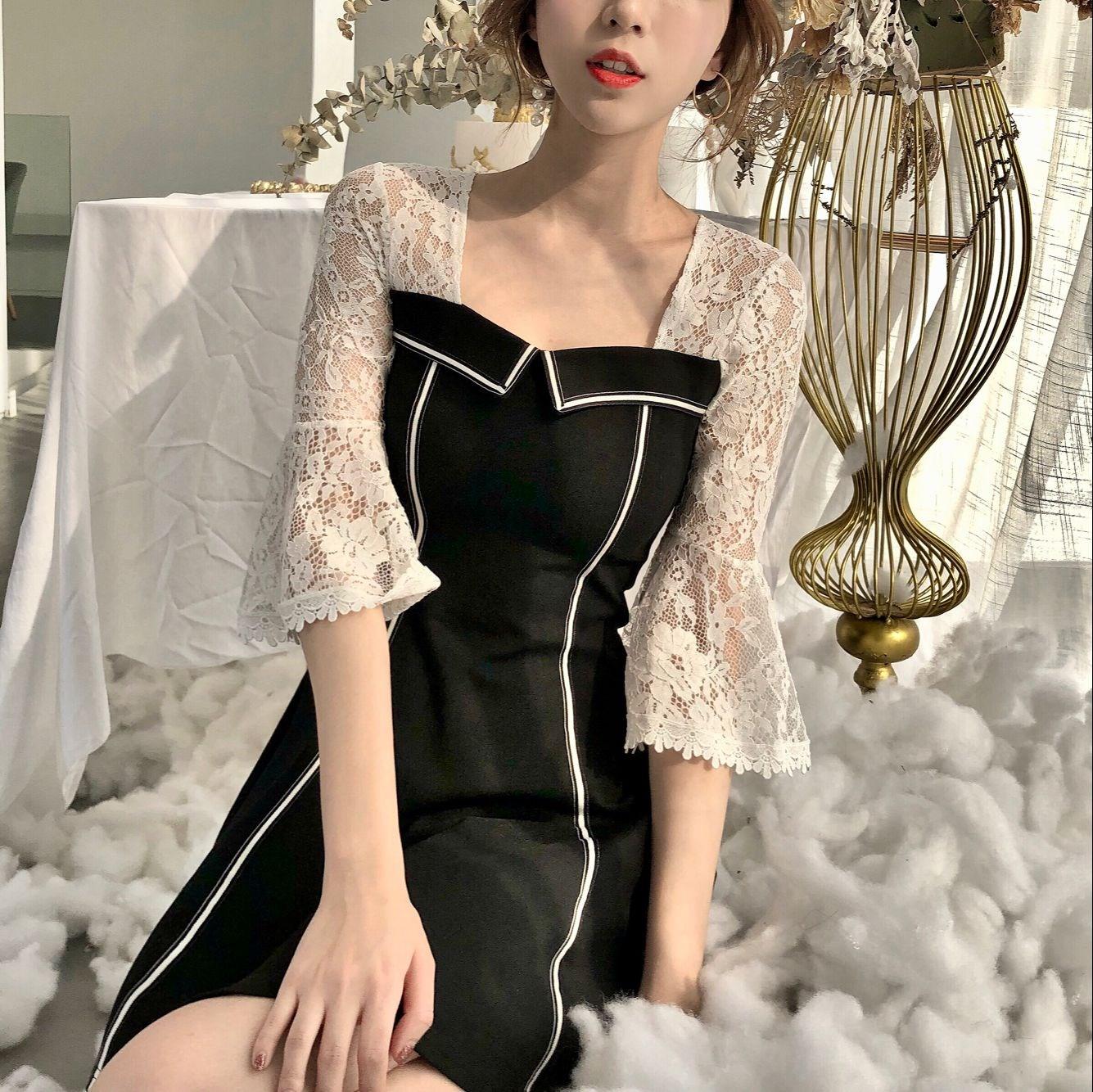 御姐范女装2018新款小个子连衣裙心机裙子设计感高腰假两件短裙潮