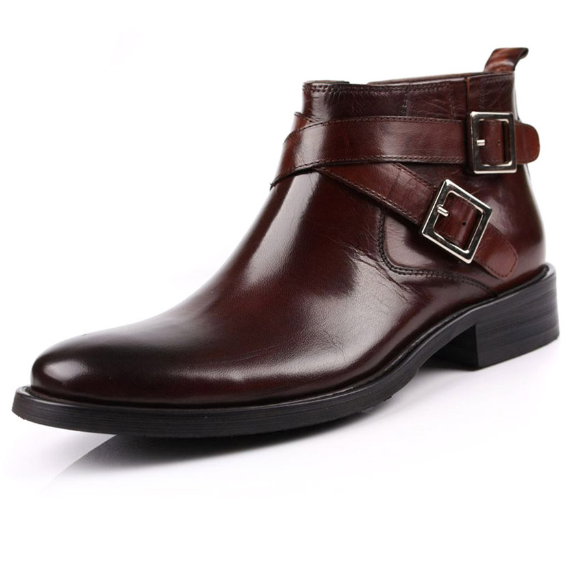 Italian new fashion mens short boots zipper high top business dress leather shoes leather buckle leather boots fashion