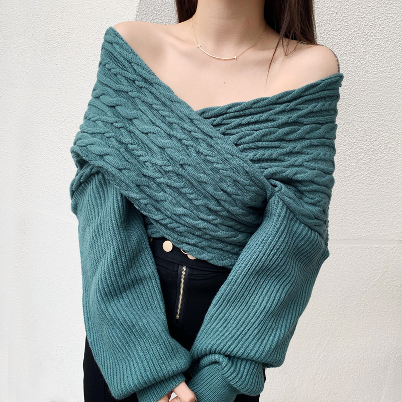 Languid hemp sweater, womens Forest Department loose outer wear, autumn and winter 2020 new fashion V-neck short fashion jacket