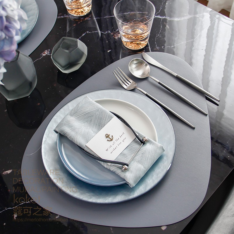koket蔻可 样板房间 西餐盘 牛排盘灰色异形餐具酒店餐桌摆台套装