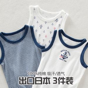 夏季儿童无袖T恤男童小男孩宝宝中大童纯棉网眼背心弹力透气吸汗