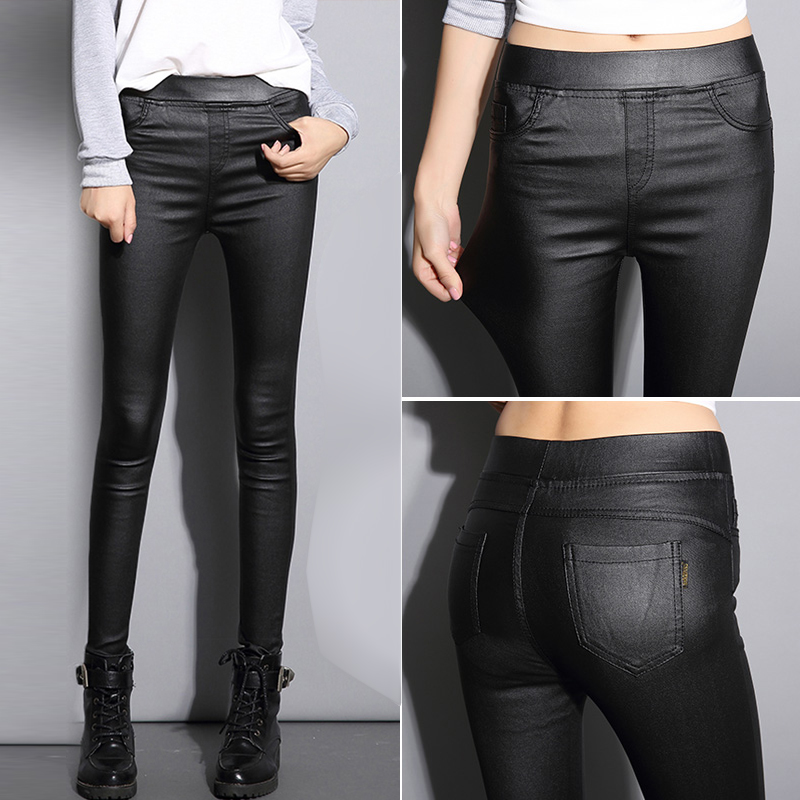 Spring and autumn leather pants womens pants Plush 2020 new matte matte matte coated Pu Leggings
