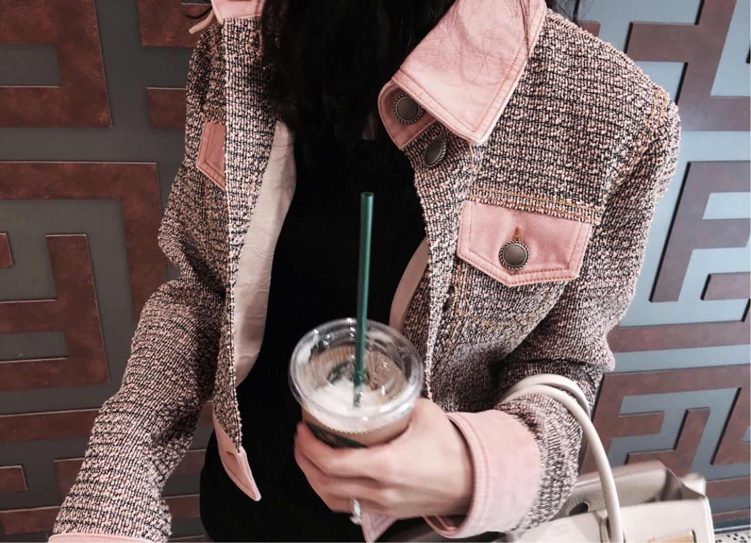 momoshero夹克短外套女2018秋季新款女装粉色棒球服休闲修身上衣