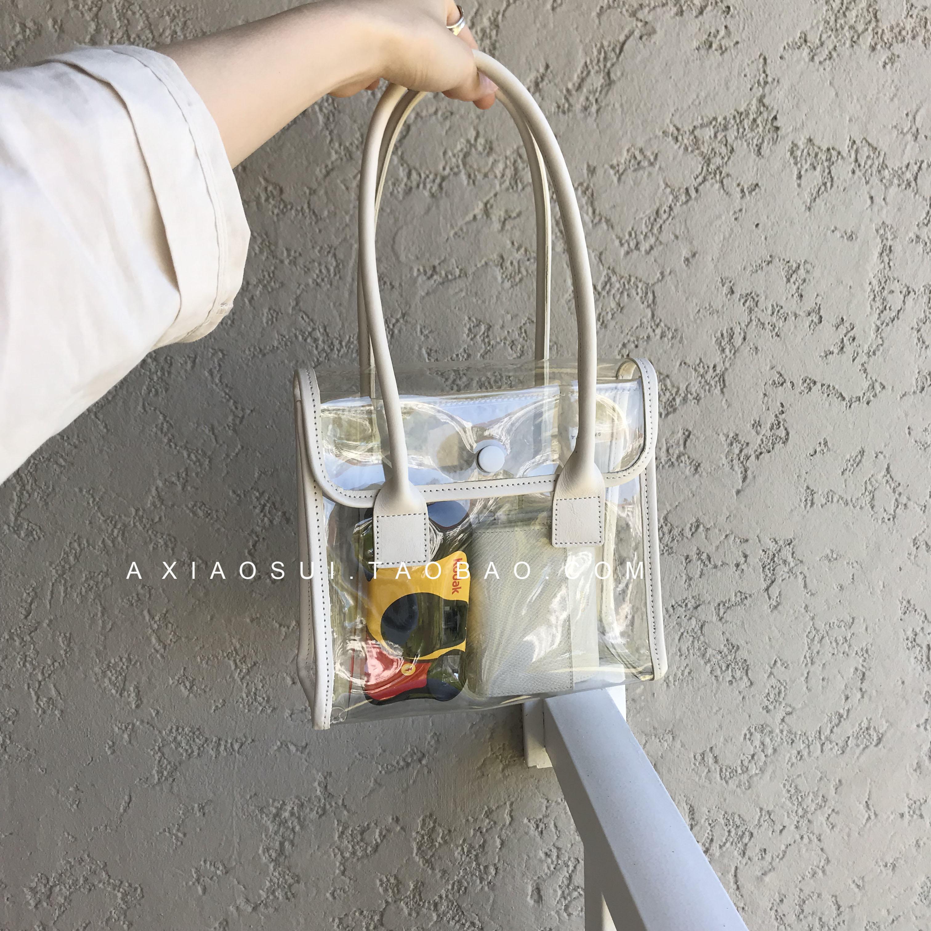 透明小包包女2021新款夏日搭配洋气PU皮拼接手提包ins拍照沙滩包 Изображение 1