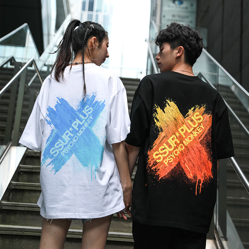 SSUR联名PCMY渐变刷漆短袖T恤男女情侣装夏季港风宽松BF风
