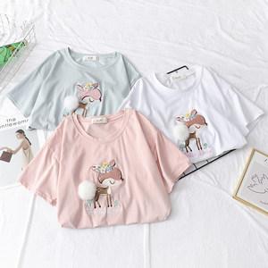 日系甜美立体毛球梅花鹿短袖T恤 百搭少女减龄打底衫圆领上衣夏季