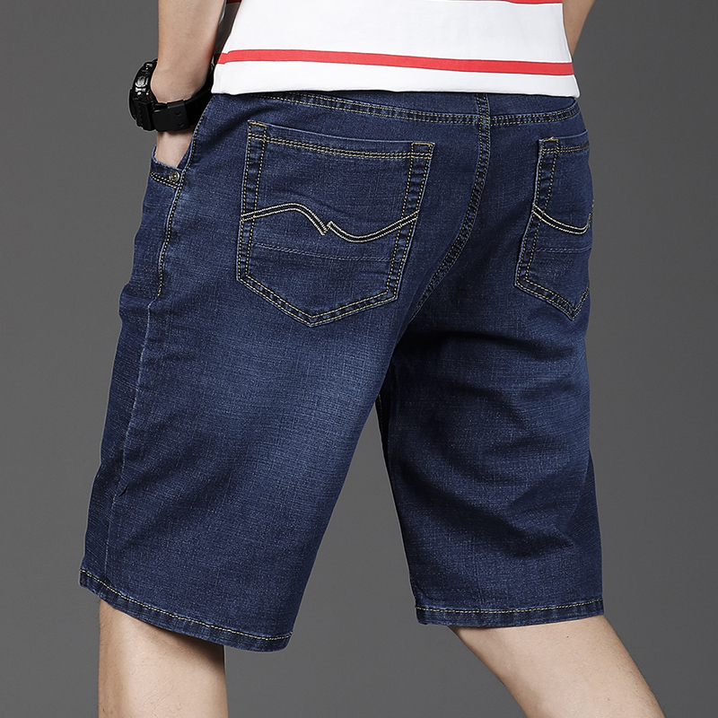 ? Middle aged denim shorts mens big size loose high waist dad middle-aged and elderly five point Suit Shorts trend