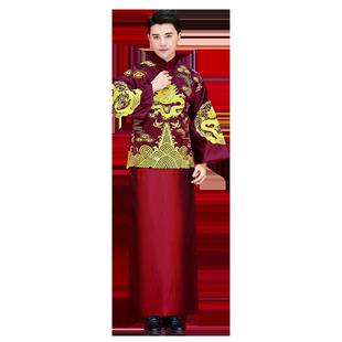 中式結婚秀禾服男士2019新款龍鳳褂古長衫敬酒禮服新郎馬褂袍唐裝