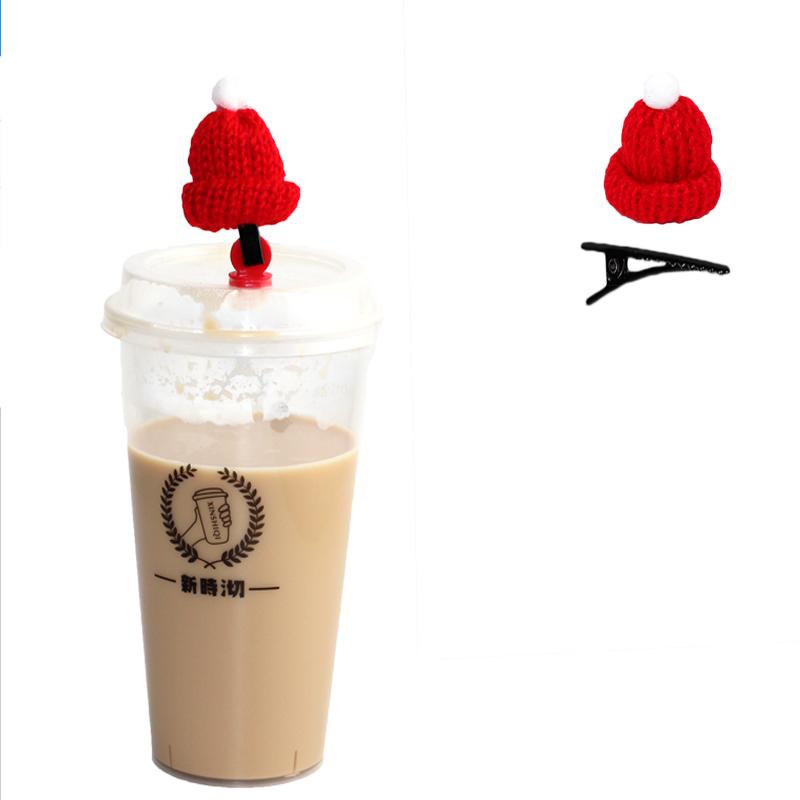 圣诞节迷你毛线小帽子发夹手指帽diy圣诞酒瓶帽奶茶红酒帽子针织