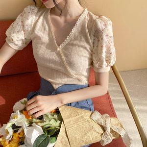 dearnana短袖夏季镂空泡泡袖针织衫