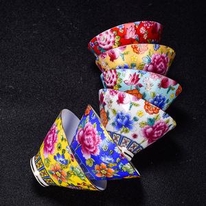 景德镇陶瓷茶杯主人杯单杯珐琅彩青花茶具万花品茗杯功夫茶杯茶具