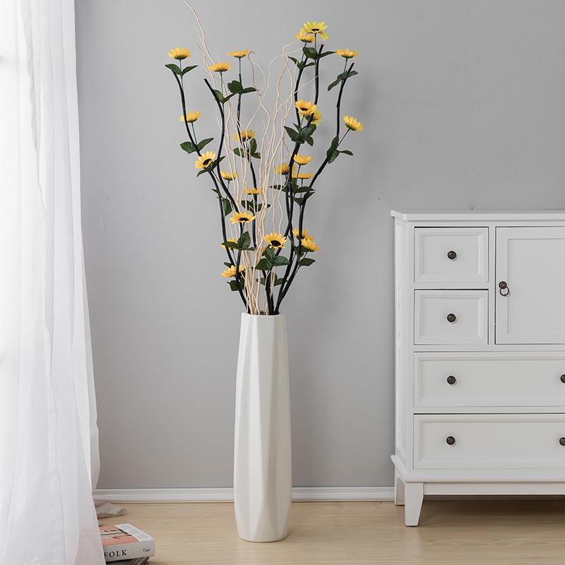 60cm陶瓷大花瓶落地套装白色干花