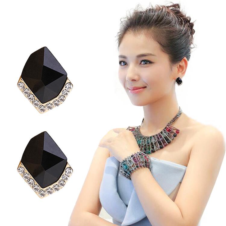 韩国气质耳钉女 水晶耳环纯银针时尚个性甜美简约耳夹防过敏耳饰券后16.80元