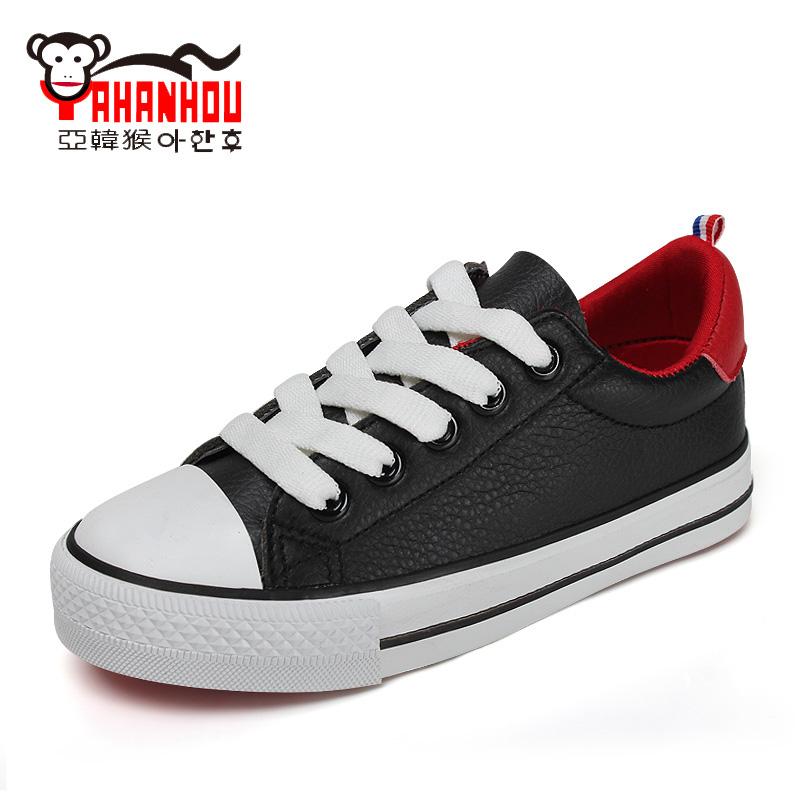 亞韓猴童鞋 2016 兒童 板鞋男童 女童小白鞋黑白色寶寶單鞋