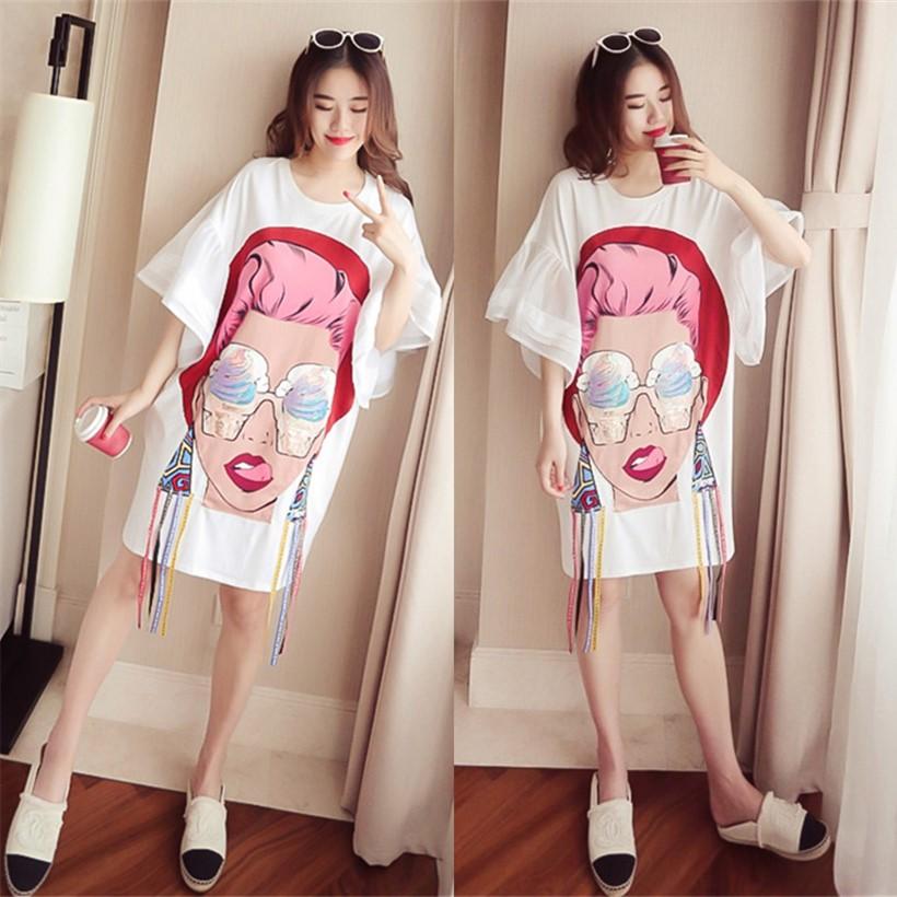 2018夏季韩版短袖百搭T恤大码显瘦打底衫女中长款宽松时尚上衣潮