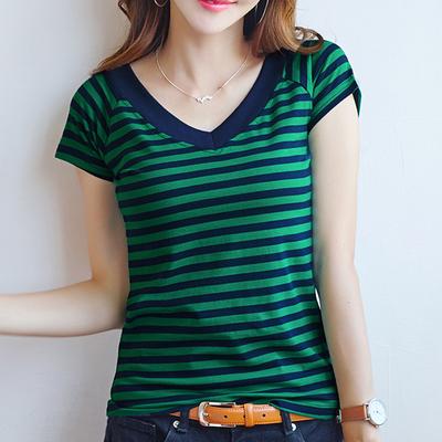 2018夏季新款条纹V领显瘦百搭短袖t恤女装韩版棉质半袖体恤打底衫