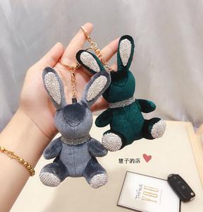 韩国镶钻丝绒项链小兔子背包挂件创意可爱公仔包挂饰男女车钥匙扣