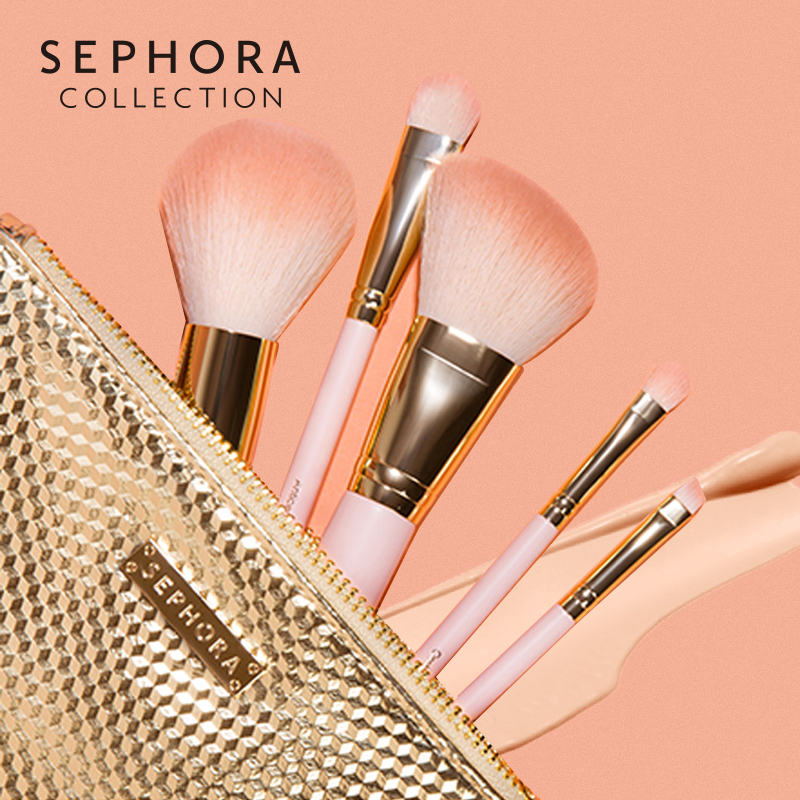 Sephora/ silverland fun, powder, makeup, brush, blush, powder, eye shadow, blemish brush, makeup brush set.