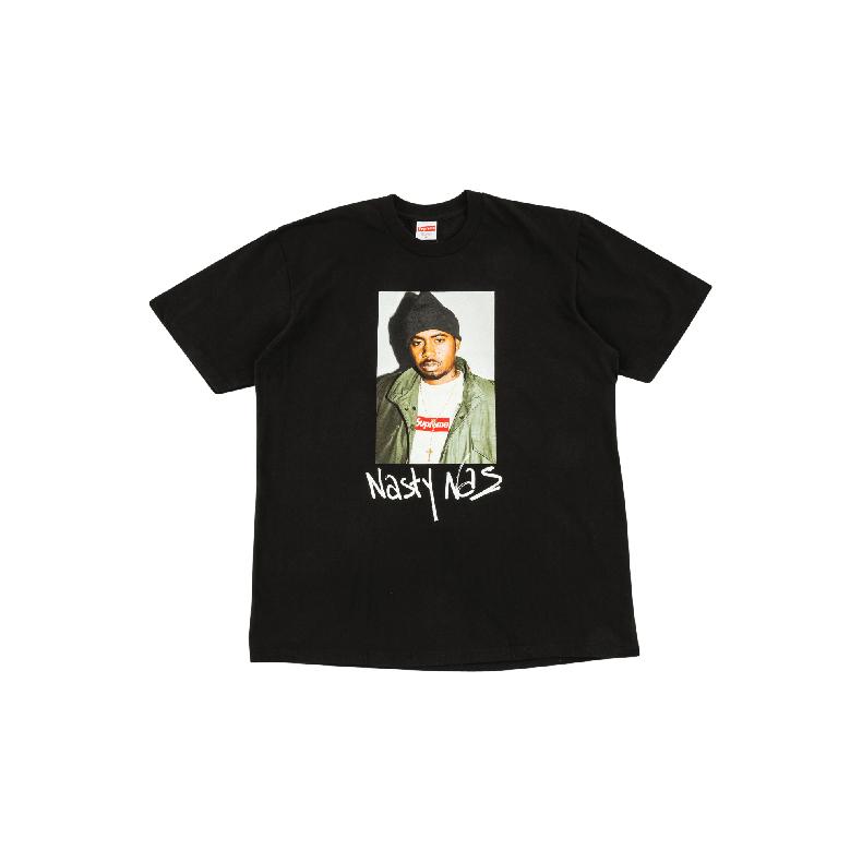 Supreme Nasty Nas Tee 说唱 人物肖像 短袖T恤 黑色圆领- SU2043
