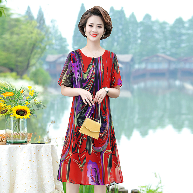 Summer dress for mother middle-aged mother womens dress exotic chiffon skirt womens loose belly covering group