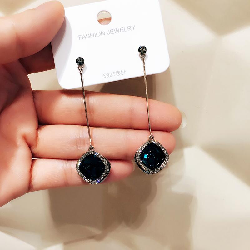 BRIA施家水晶几何吊坠耳环防过敏气质韩国长款简约高级感复古耳饰