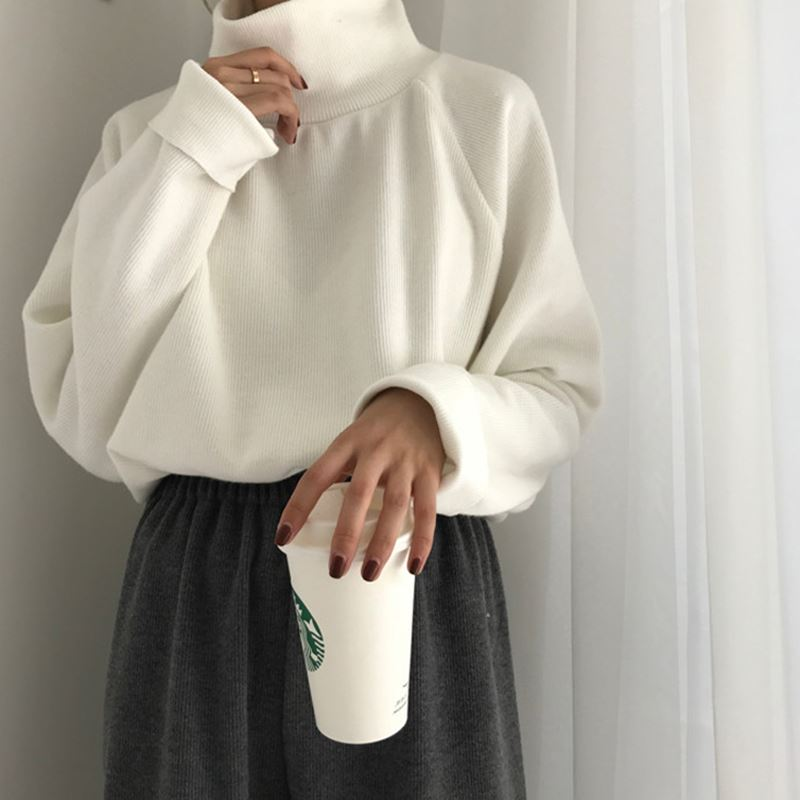 Winter new Korean versatile slim high neck thickened long sleeve sweater womens loose solid color bottomed sweater
