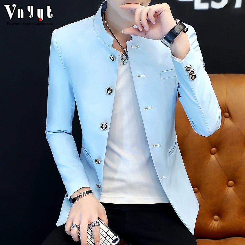 男士个性立领夹克青年韩版帅气中山装潮流休闲男装春秋季简约外套