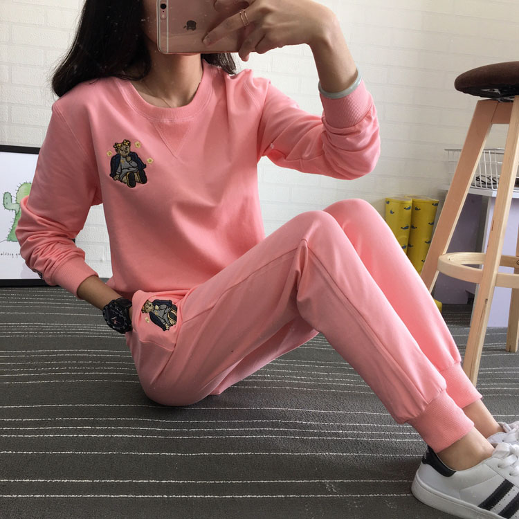 Early autumn 2018 sportswear womens spring and autumn fashion casual womens round neck sweater long sleeve versatile two piece cotton set