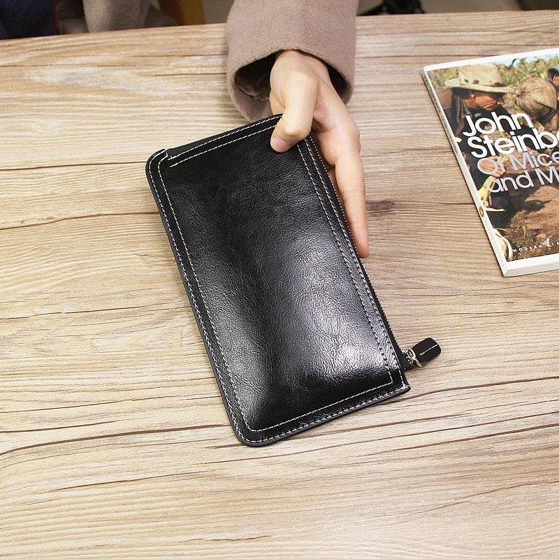 2020 new womens leather long purse ultra thin simple zipper wallet cowhide large banknote clip Korean handbag